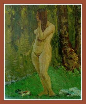 "Girl near river (oil on canvas, 20""x17"", 1981) Privat Russian Art Exhibition in Art Danish"