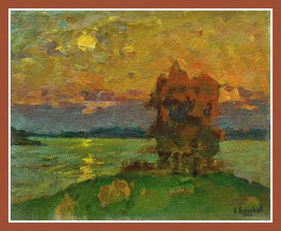 """Autumn evening"" (oil on cardboard, 16""x20"", 1983) Russian Art Exhibition in Art Danish 2005"