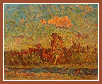 "Autumn forest (oil on cardboard, 16""x20"", 1983)Russian Art Exhibition"