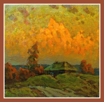 14028 Orange sundown Russian Art Exhibition in Art Danish , Storgatan 35, 36075 Alstermo, Sweden