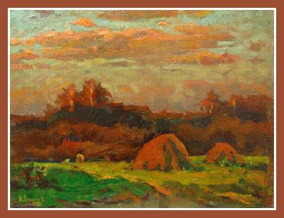 "14030 Pink haystacks (oil on canvas, 18""x24"", 1984 Russian Art Exhibition"