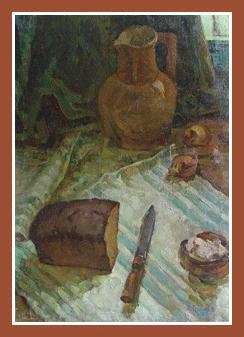 "14034 ""Still life with bread and salt"" (oil on canvas, 27""x19"", 1977) Russian Art Exhibition in Art Danish 2005"