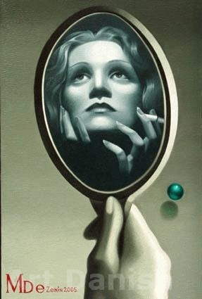 The magnificent Marlene Dietrich Oil on canvas by Artist Eugene Zenin