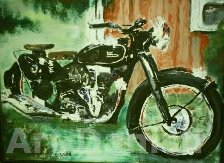 Velocette motorcykel bike in oil painting on board