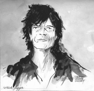"Santiago Londono: ""Mick Jagger"" - Drawing Pen, 2005 paintings and sculpture and gift-store Painter Artist Galleri Gallery Ateli�r Studio Fernisering Show"