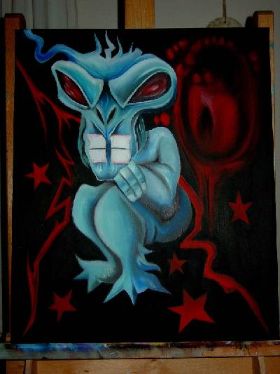 838 Alien baby 50-60cm painted by artist Robin Johan Lont paintings for sale in Gallery Art Danish Danmark