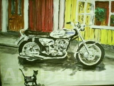 Kawasaki 500 motorcykel oil painting on board by Artist thomas nordström