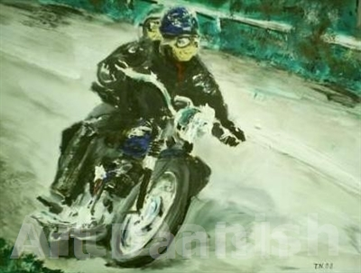14003 Triumph motorcykel oil painting on board 42 x 32 cm by Artist thomas nordström